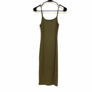 Sam & Her Green Ribbed Spaghetti Strap Dress OS